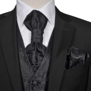 Conjunto colete de casamento para homem estampa caxemira tam. 54 preto - PORTES GRÁTIS