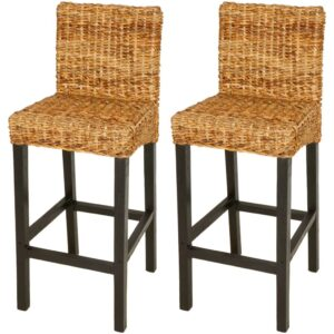 Cadeiras de bar 2 pcs abacá castanho - PORTES GRÁTIS