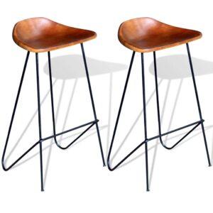 Cadeiras de bar, couro genuíno 2 pcs castanho - PORTES GRÁTIS