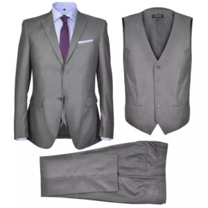 Fato formal homem 3 pçs tamanho 46 em cinzento - PORTES GRÁTIS