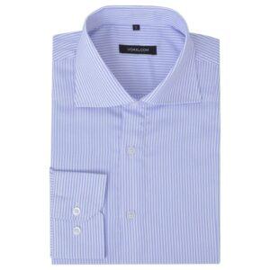 Camisa negócios p/ homem às riscas branco e azul claro, M - PORTES GRÁTIS