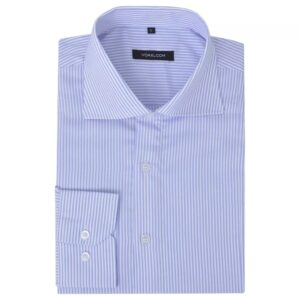 Camisa negócios p/ homem às riscas branco e azul claro, XXL - PORTES GRÁTIS