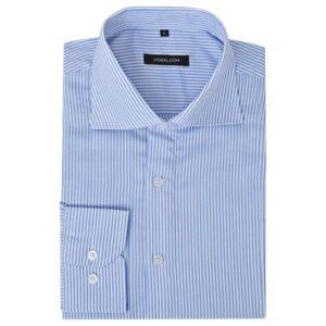 Camisa negócios p/ homem às riscas branco e azul, XL - PORTES GRÁTIS