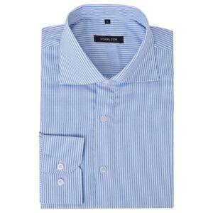 Camisa negócios p/ homem às riscas branco e azul, XXL - PORTES GRÁTIS