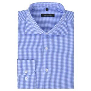 Camisa negócios p/ homem aos quadrados branca e azul claro, S - PORTES GRÁTIS