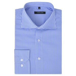 Camisa negócios p/ homem aos quadrados branca e azul claro, L -  PORTES GRÁTIS
