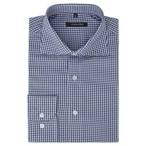 Camisa negócios p/ homem aos quadrados branca e azul-marinho, S - PORTES GRÁTIS