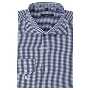 Camisa negócios p/ homem aos quadrados branca e azul-marinho, M - PORTES GRÁTIS
