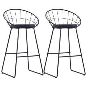 Cadeiras de bar c/ assentos em couro artificial 2 pcs aço preto - PORTES GRÁTIS