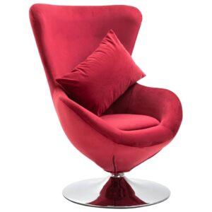 Cadeira giratório em forma de ovo c/ almofadão veludo vermelho -  PORTES GRÁTIS