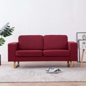 Sofá de 2 lugares em tecido vermelho tinto - PORTES GRÁTIS