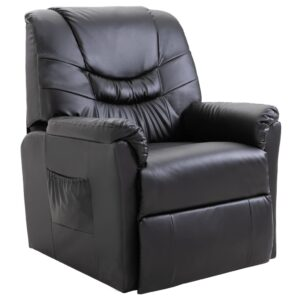 Cadeira reclinável couro artificial preto -  PORTES GRÁTIS
