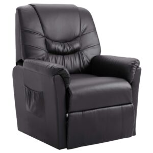 Cadeira reclinável couro artificial cinzento -  PORTES GRÁTIS