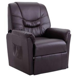 Cadeira reclinável couro artificial castanho -  PORTES GRÁTIS