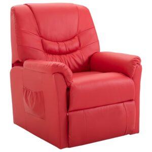 Cadeira reclinável couro artificial vermelho -  PORTES GRÁTIS