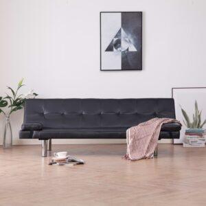 Sofá-cama com 2 almofadas couro artificial castanho - PORTES GRÁTIS