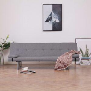 Sofá-cama com duas almofadas poliéster cinzento claro - PORTES GRÁTIS