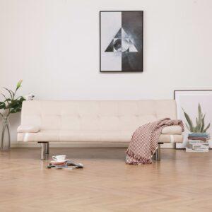 Sofá-cama com duas almofadas poliéster cor creme - PORTES GRÁTIS