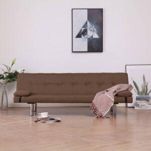 Sofá-cama com duas almofadas poliéster castanho - PORTES GRÁTIS
