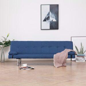 Sofá-cama com duas almofadas poliéster azul - PORTES GRÁTIS