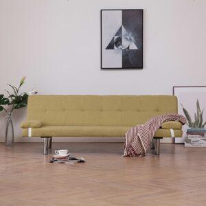Sofá-cama com duas almofadas poliéster verde - PORTES GRÁTIS