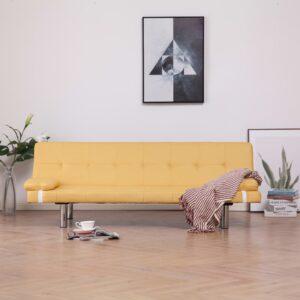 Sofá-cama com duas almofadas poliéster amarelo - PORTES GRÁTIS