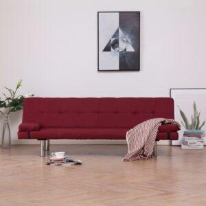 Sofá-cama com duas almofadas poliéster vermelho tinto - PORTES GRÁTIS