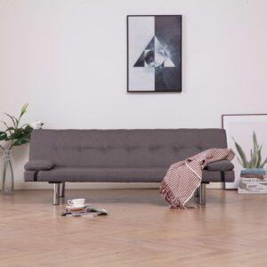 Sofá-cama com duas almofadas poliéster cinzento-acastanhado - PORTES GRÁTIS