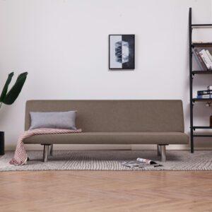 Sofá-cama poliéster cinzento-acastanhado - PORTES GRÁTIS