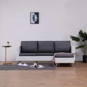 Sofá de 3 lugares com almofadões couro artificial branco - PORTES GRÁTIS
