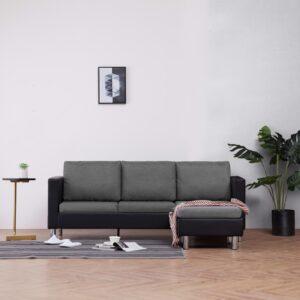 Sofá de 3 lugares com almofadões couro artificial preto - PORTES GRÁTIS