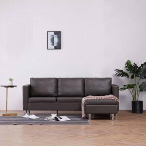Sofá de 3 lugares com almofadões couro artificial cinzento - PORTES GRÁTIS