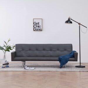 Sofá-cama com apoio de braços couro artificial cinzento - PORTES GRÁTIS