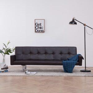 Sofá-cama com apoio de braços couro artificial castanho - PORTES GRÁTIS