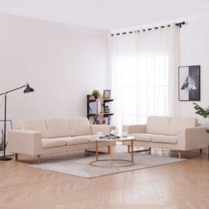 2 pcs conjunto de sofás tecido cor creme - PORTES GRÁTIS