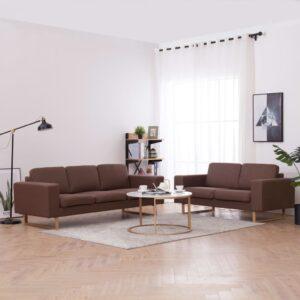 2 pcs conjunto de sofás tecido castanho - PORTES GRÁTIS