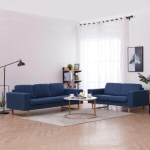 2 pcs conjunto de sofás tecido azul - PORTES GRÁTIS