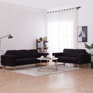 2 pcs conjunto de sofás tecido preto - PORTES GRÁTIS