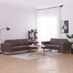 2 pcs conjunto de sofás tecido cinzento-acastanhado - PORTES GRÁTIS
