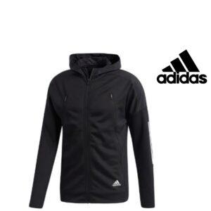 Adidas® Casaco Preto com Carapuço e Riscas nas Mangas