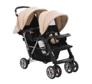 Carrinho de bebé para gémeos aço cinzento-acastanhado e preto - PORTES GRÁTIS