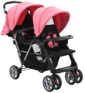 Carrinho de bebé para gémeos aço cor-de-rosa e preto - PORTES GRÁTIS