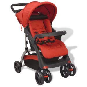 Carrinho de bebé vermelho 102x52x100 cm  - PORTES GRÁTIS