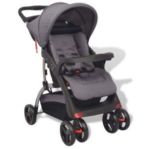 Carrinho de bebé cinzento 102x52x100 cm - PORTES GRÁTIS