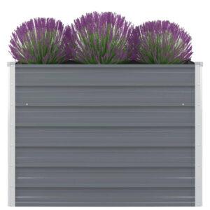 Canteiro jardim elevado 100x100x77cm aço galvanizado cinzento - PORTES GRÁTIS