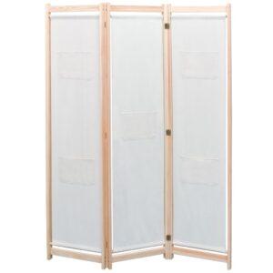 Divisória de quarto com 3 painéis 120x170x4 cm tecido creme - PORTES GRÁTIS