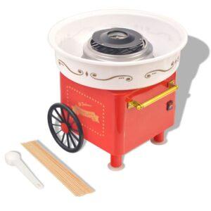 Máquina de algodão-doce com rodas 480 W vermelho - PORTES GRÁTIS