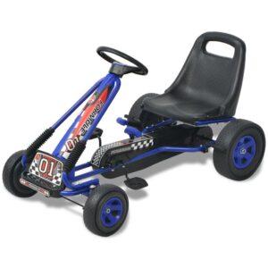 Kart a pedais com assento ajustável, azul - PORTES GRÁTIS