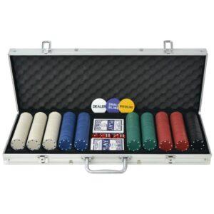Conjunto de póquer com 500 fichas, alumínio - PORTES GRÁTIS