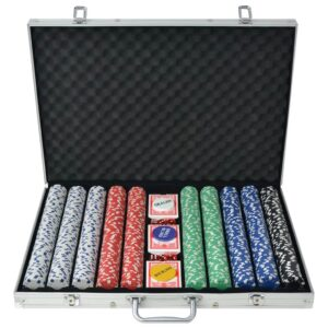 Conjunto de póquer com 1000 fichas, alumínio - PORTES GRÁTIS